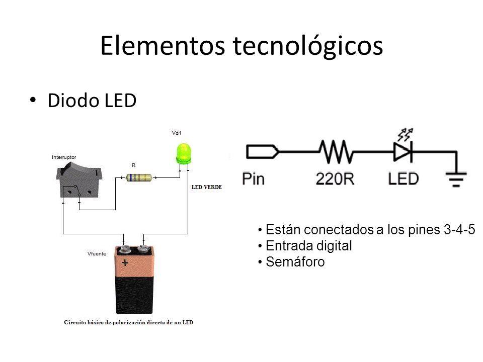 Elementos tecnológicos Diodo LED Están conectados a los pines 3-4-5 Entrada digital Semáforo