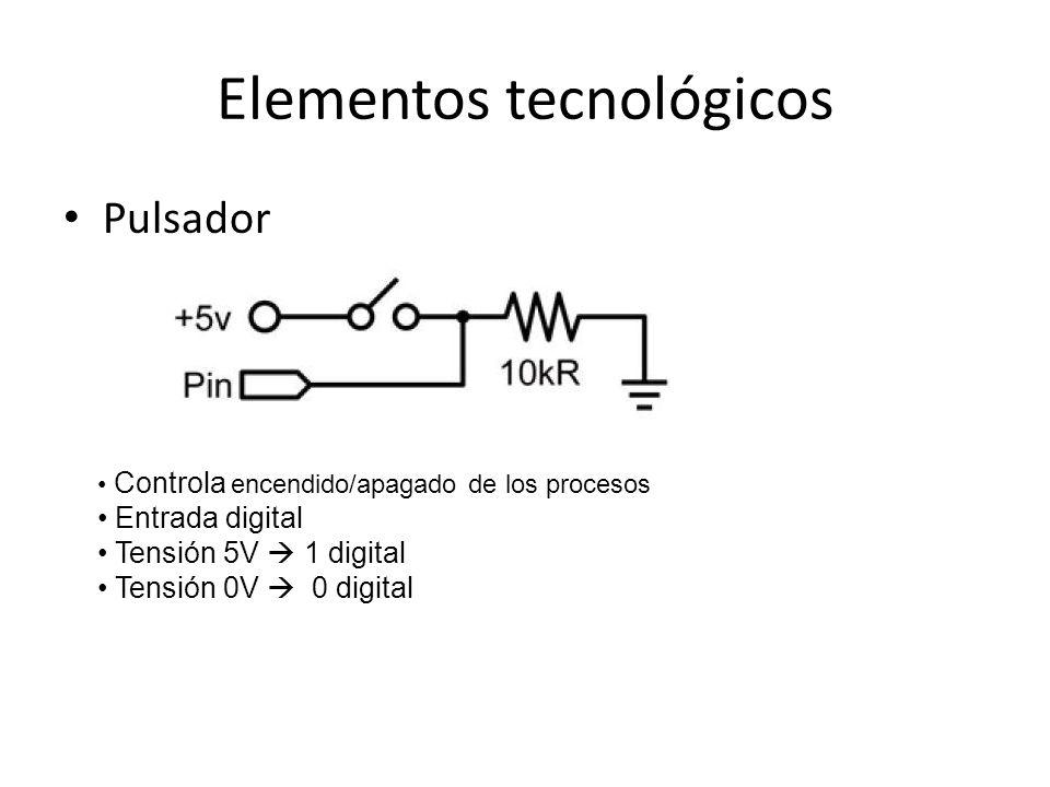 Elementos tecnológicos Pulsador Controla encendido/apagado de los procesos Entrada digital Tensión 5V 1 digital Tensión 0V 0 digital