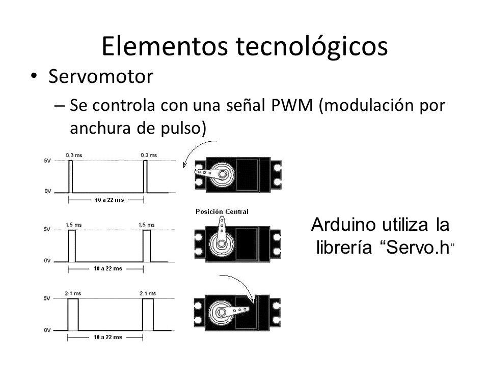 Elementos tecnológicos Servomotor – Se controla con una señal PWM (modulación por anchura de pulso) Arduino utiliza la librería Servo.h