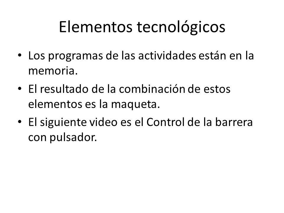 Elementos tecnológicos Los programas de las actividades están en la memoria.