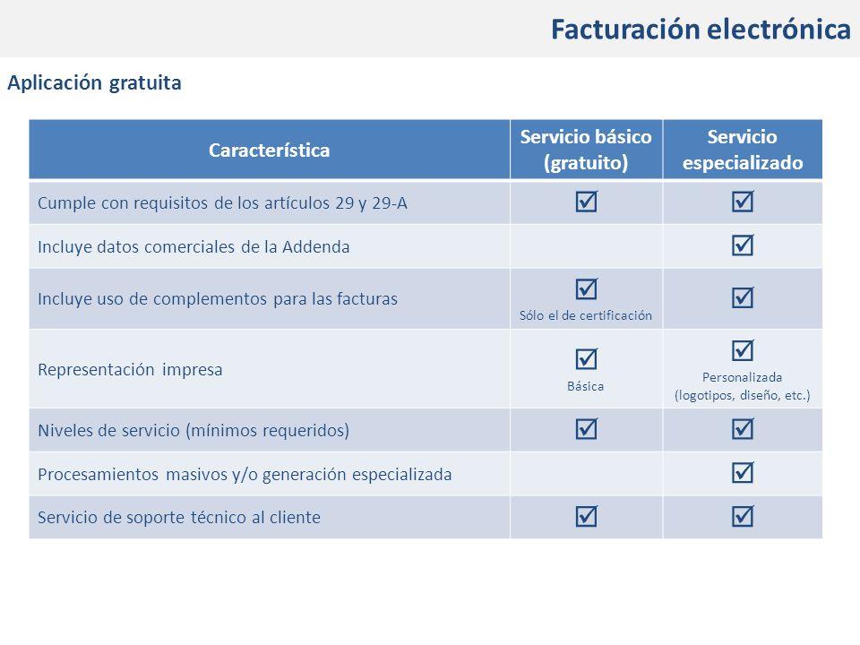 Facturación Electrónica Facturación electrónica Aplicación gratuita Característica Servicio básico (gratuito) Servicio especializado Cumple con requis