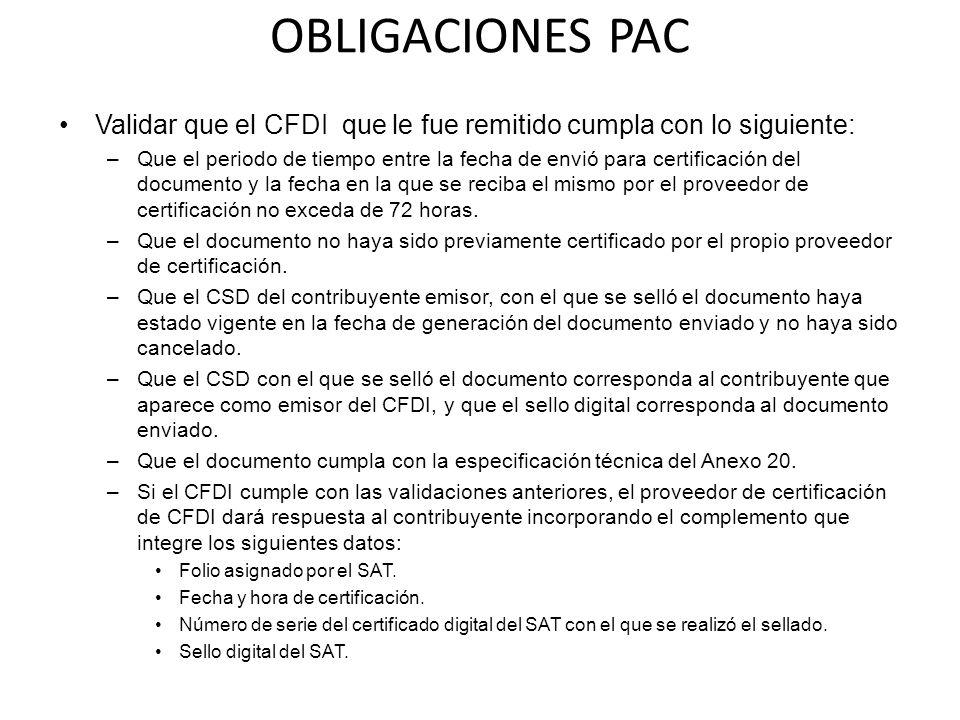 OBLIGACIONES PAC Validar que el CFDI que le fue remitido cumpla con lo siguiente: –Que el periodo de tiempo entre la fecha de envió para certificación