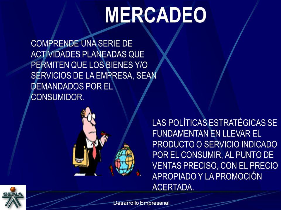 Desarrollo Empresarial MERCADEO LAS POLÍTICAS ESTRATÉGICAS SE FUNDAMENTAN EN LLEVAR EL PRODUCTO O SERVICIO INDICADO POR EL CONSUMIR, AL PUNTO DE VENTA