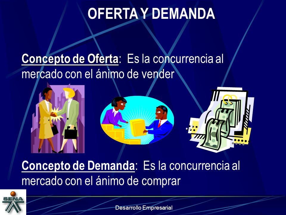 Desarrollo Empresarial OFERTA Y DEMANDA Concepto de Oferta Concepto de Oferta : Es la concurrencia al mercado con el ánimo de vender Concepto de Deman