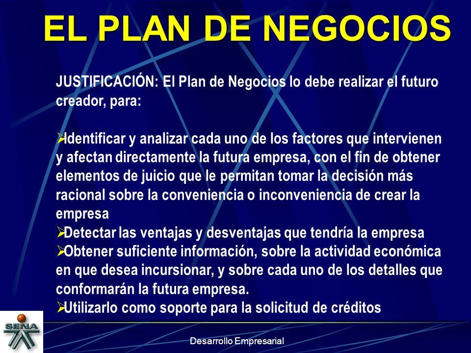 Desarrollo Empresarial EL PLAN DE NEGOCIOS JUSTIFICACIÓN: El Plan de Negocios lo debe realizar el futuro creador, para: Identificar y analizar cada un