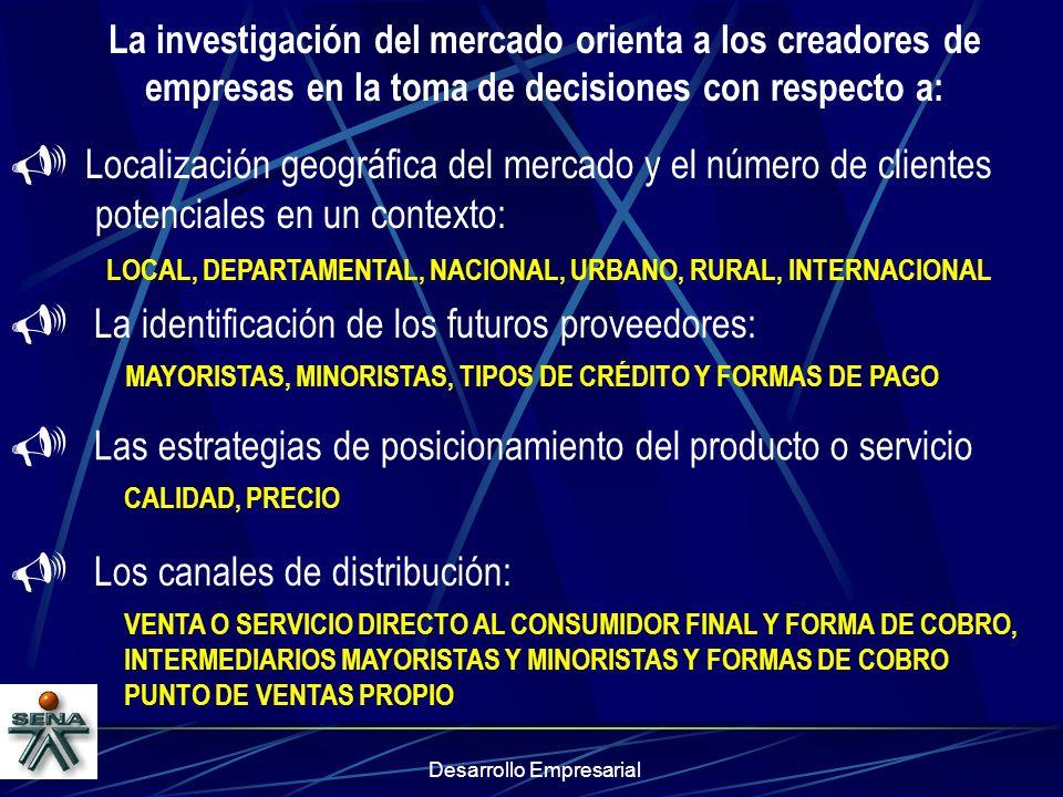 Desarrollo Empresarial La investigación del mercado orienta a los creadores de empresas en la toma de decisiones con respecto a: Localización geográfi