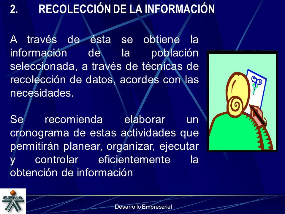 Desarrollo Empresarial 2.RECOLECCIÓN DE LA INFORMACIÓN A través de ésta se obtiene la información de la población seleccionada, a través de técnicas d