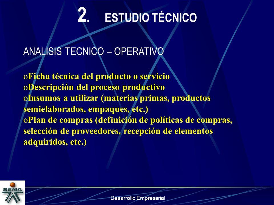 Desarrollo Empresarial 2.ESTUDIO TÉCNICO ANALISIS TECNICO – OPERATIVO oFicha técnica del producto o servicio oDescripción del proceso productivo oInsu