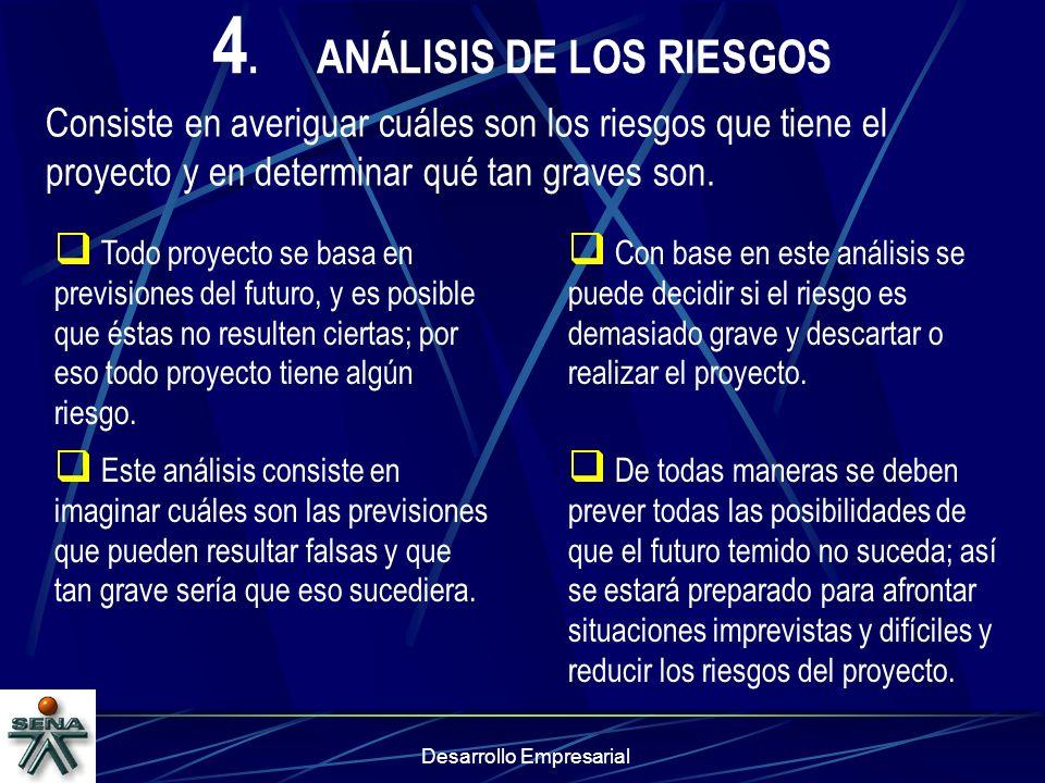 Desarrollo Empresarial 4.ANÁLISIS DE LOS RIESGOS Consiste en averiguar cuáles son los riesgos que tiene el proyecto y en determinar qué tan graves son