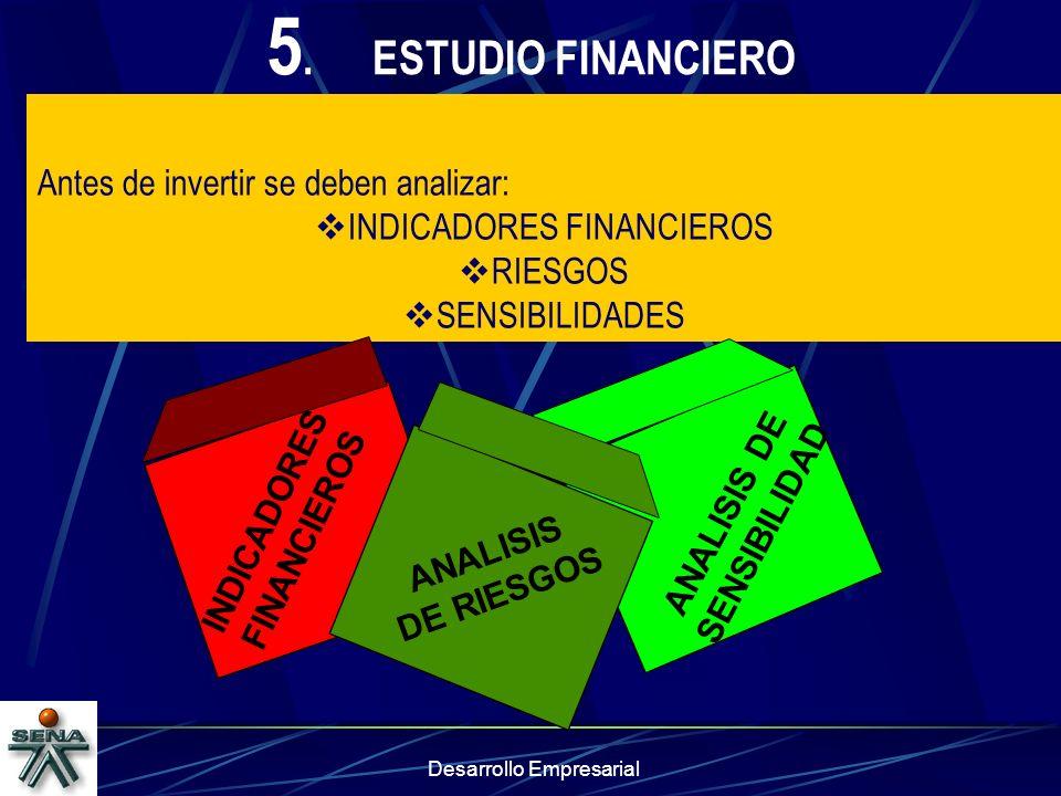 Desarrollo Empresarial 5.ESTUDIO FINANCIERO Antes de invertir se deben analizar: INDICADORES FINANCIEROS RIESGOS SENSIBILIDADES INDICADORES FINANCIERO