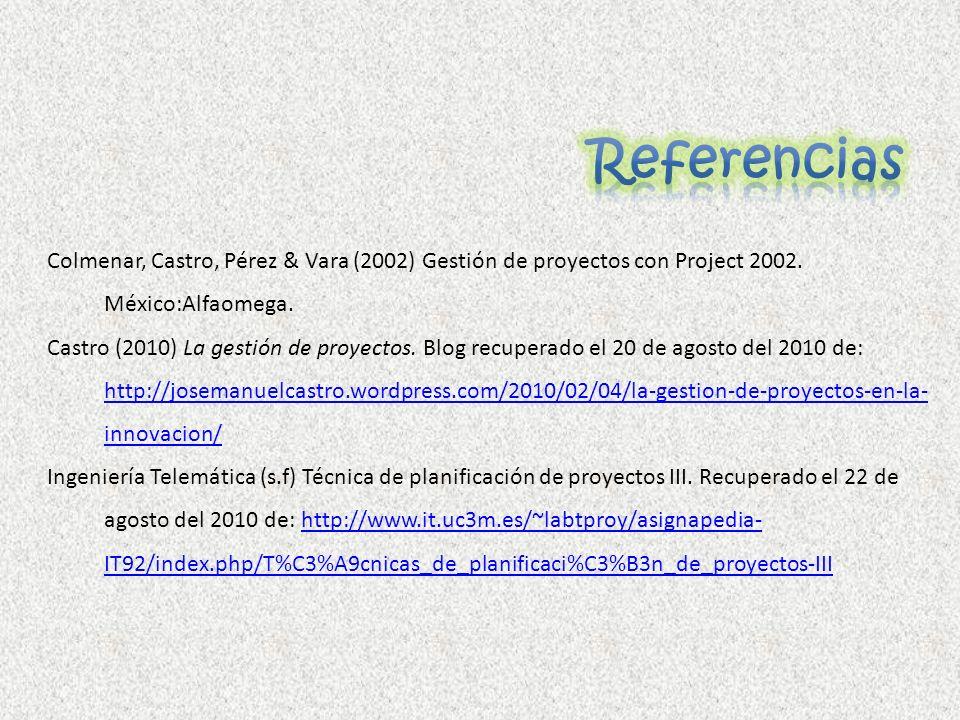 Colmenar, Castro, Pérez & Vara (2002) Gestión de proyectos con Project 2002. México:Alfaomega. Castro (2010) La gestión de proyectos. Blog recuperado