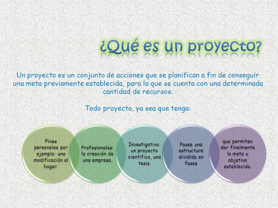 Un proyecto es un conjunto de acciones que se planifican a fin de conseguir una meta previamente establecida, para lo que se cuenta con una determinad