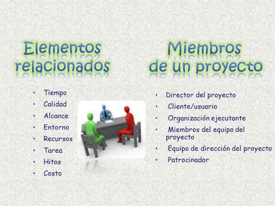 Tiempo Calidad Alcance Entorno Recursos Tarea Hitos Costo Director del proyecto Cliente/usuario Organización ejecutante Miembros del equipo del proyec