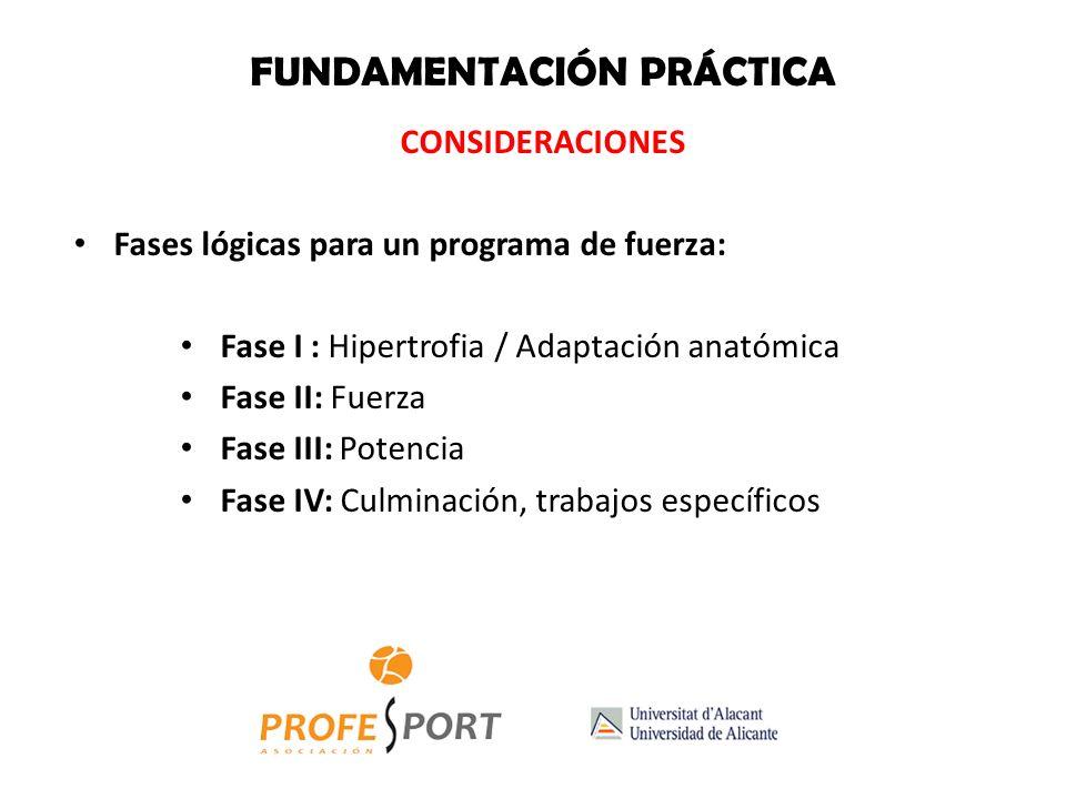 FUNDAMENTACIÓN PRÁCTICA CONSIDERACIONES Fases lógicas para un programa de fuerza: Fase I : Hipertrofia / Adaptación anatómica Fase II: Fuerza Fase III: Potencia Fase IV: Culminación, trabajos específicos