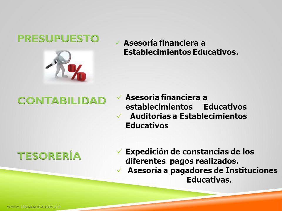 WWW.SEDARAUCA.GOV.CO Asesoría financiera a Establecimientos Educativos. Asesoría financiera a establecimientos Educativos Auditorias a Establecimiento