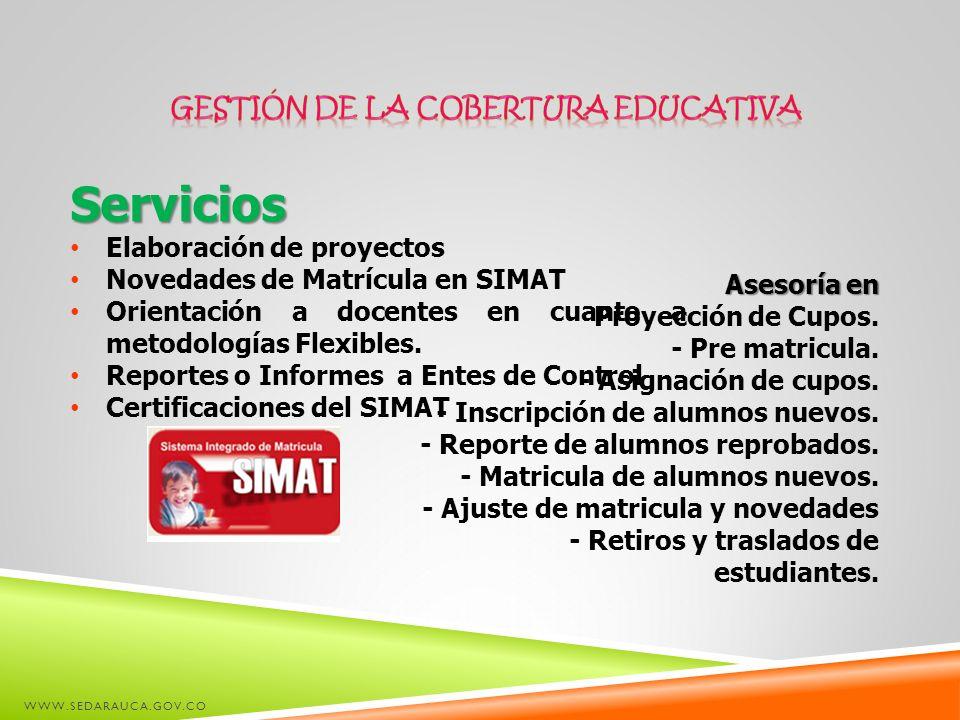 Servicios Elaboración de proyectos Novedades de Matrícula en SIMAT Orientación a docentes en cuanto a metodologías Flexibles. Reportes o Informes a En