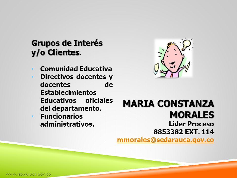 WWW.SEDARAUCA.GOV.CO MARIA CONSTANZA MORALES Líder Proceso 8853382 EXT. 114 mmorales@sedarauca.gov.co Grupos de Interés y/o Clientes Grupos de Interés