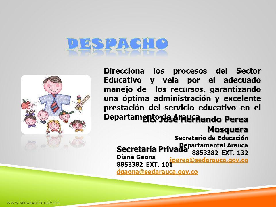 WWW.SEDARAUCA.GOV.CO Lic. José Hernando Perea Mosquera Secretario de Educación Departamental Arauca 8853382 EXT. 132 jperea@sedarauca.gov.co Direccion