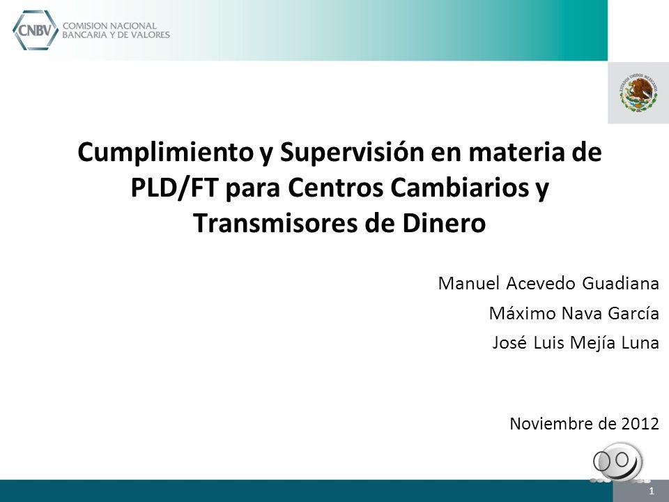 Cumplimiento y Supervisión en materia de PLD/FT para Centros Cambiarios y Transmisores de Dinero Manuel Acevedo Guadiana Máximo Nava García José Luis