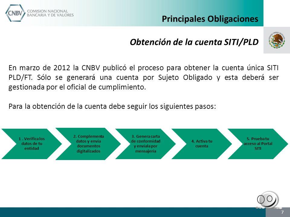 7 En marzo de 2012 la CNBV publicó el proceso para obtener la cuenta única SITI PLD/FT. Sólo se generará una cuenta por Sujeto Obligado y esta deberá