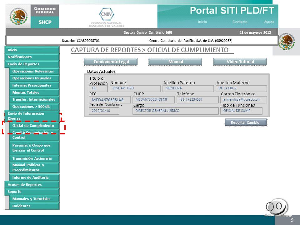 9 Futuro portal Inicio Notificaciones Envío de Reportes Operaciones Relevantes Operaciones Inusuales Internas Preocupantes Montos Totales Transfer. In