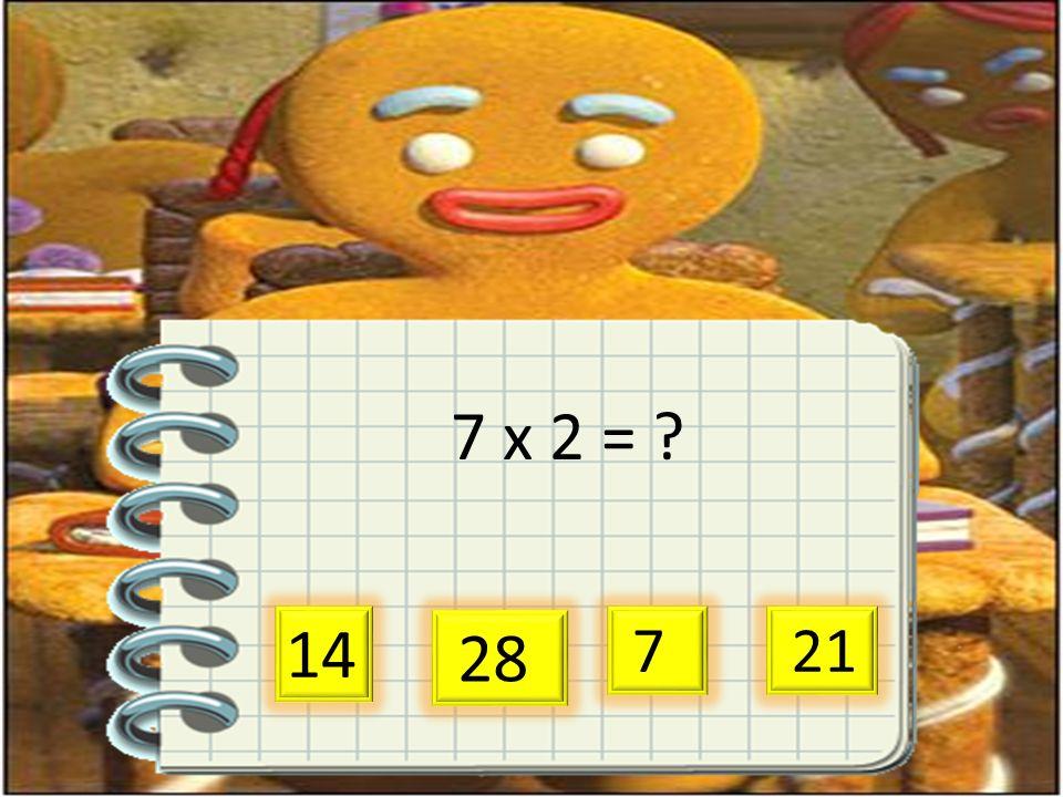 7 x 2 = ? 14 28 7 21