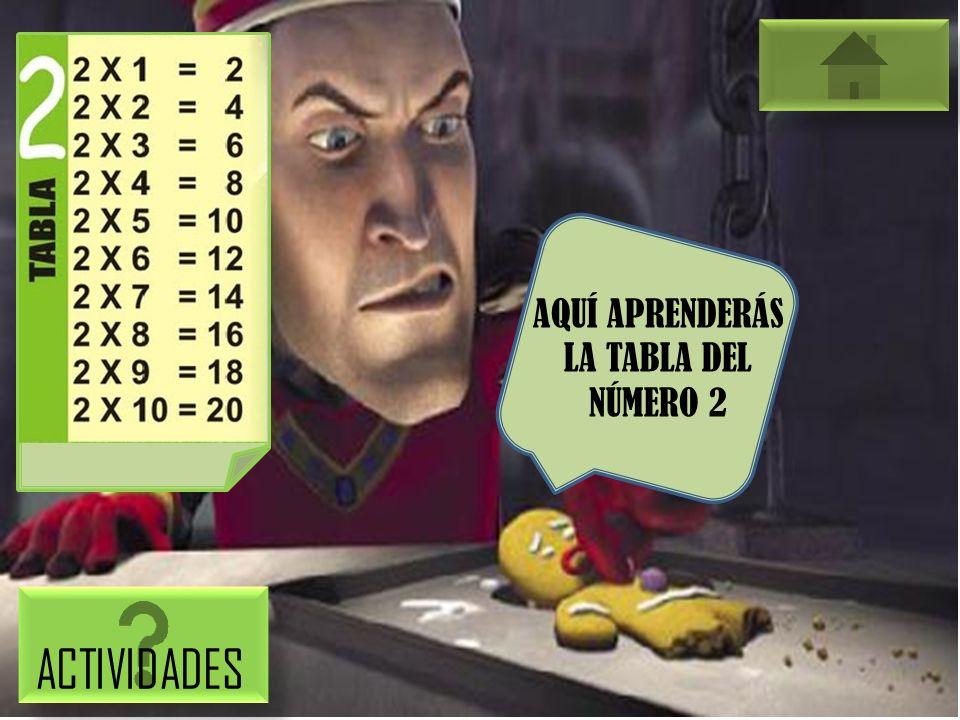 AQUÍ APRENDERÁS LA TABLA DEL NÚMERO 2 ACTIVIDADES