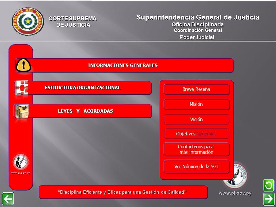 Superintendencia General de Justicia Oficina Disciplinaria Coordinación General Poder Judicial ESTRUCTURA ORGANIZACIONAL ESTRUCTURA ORGANIZACIONAL INFORMACIONES GENERALES LEYES Y ACORDADAS LEYES Y ACORDADAS CORTE SUPREMA DE JUSTICIA DE JUSTICIA www.pj.gov.py Disciplina Eficiente y Eficaz para una Gestión de Calidad Disciplina Eficiente y Eficaz para una Gestión de Calidadwww.pj.gov.py Visión Misión Objetivos Generales Contáctenos para más información Ver Nómina de la SGJ Breve Reseña