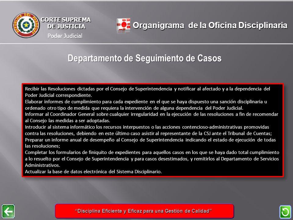 Poder Judicial CORTE SUPREMA DE JUSTICIA DE JUSTICIA Recibir las Resoluciones dictadas por el Consejo de Superintendencia y notificar al afectado y a la dependencia del Poder Judicial correspondiente.