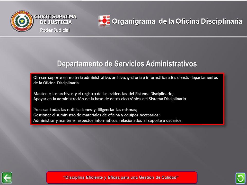 Poder Judicial CORTE SUPREMA DE JUSTICIA DE JUSTICIA Ofrecer soporte en materia administrativa, archivo, gestoría e informática a los demás departamentos de la Oficina Disciplinaria.