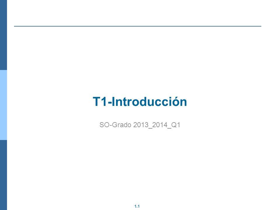 1.32 Pasos del SO de una Llamada a sistema Salvar contexto de usuario Hay que asegurar que el kernel no modifica el contexto del usuario, por eso al entrar se salva (normalmente en la pila) y al salir se restaura Recuperar contexto de sistema El HW modifica algunas cosas automáticamente cambiar de modo, pero no todas Recuperar parámetros Hay que definir como se pasan los parámetros de la pila de usuario a la pila de kernel.