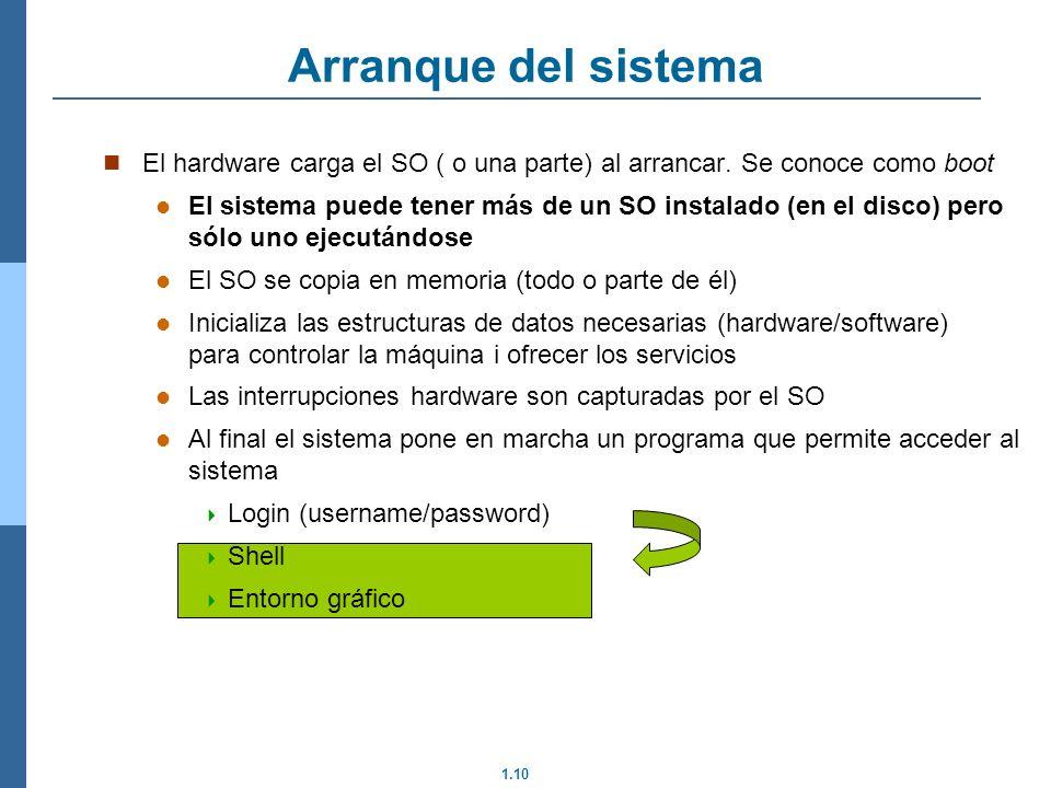 1.10 Arranque del sistema El hardware carga el SO ( o una parte) al arrancar.
