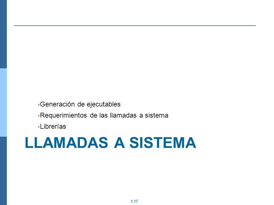 1.17 LLAMADAS A SISTEMA Generación de ejecutables Requerimientos de las llamadas a sistema Librerías