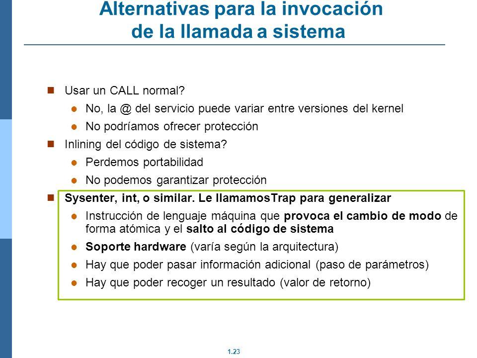 1.23 Alternativas para la invocación de la llamada a sistema Usar un CALL normal.