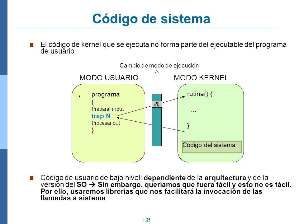 1.25 Código de sistema El código de kernel que se ejecuta no forma parte del ejecutable del programa de usuario Código de usuario de bajo nivel: dependiente de la arquitectura y de la versión del SO Sin embargo, queríamos que fuera fácil y esto no es fácil.