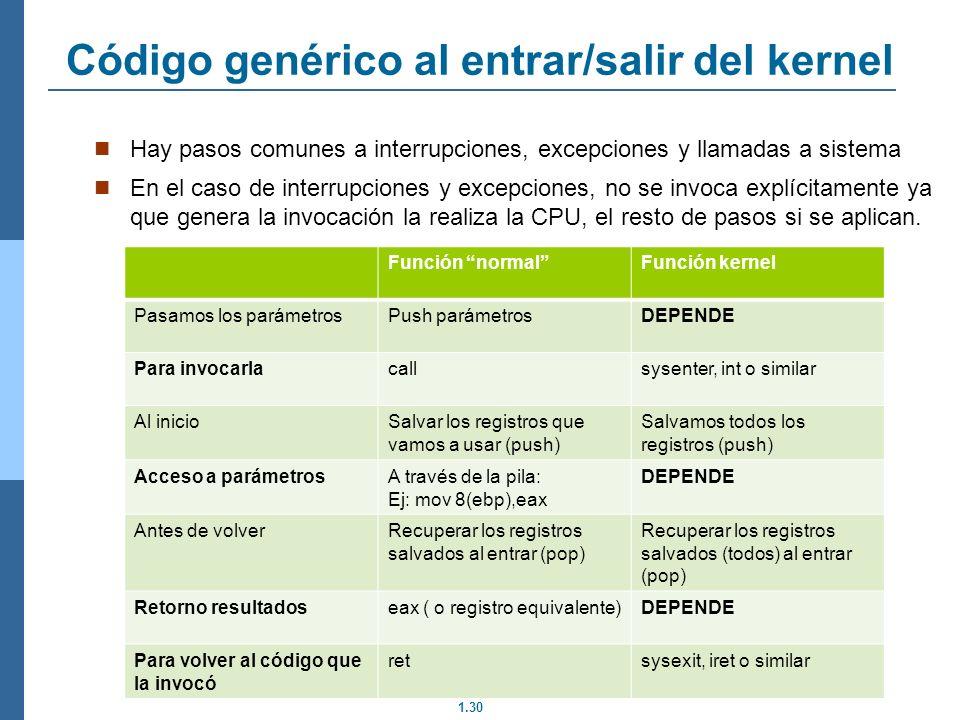 1.30 Código genérico al entrar/salir del kernel Hay pasos comunes a interrupciones, excepciones y llamadas a sistema En el caso de interrupciones y excepciones, no se invoca explícitamente ya que genera la invocación la realiza la CPU, el resto de pasos si se aplican.