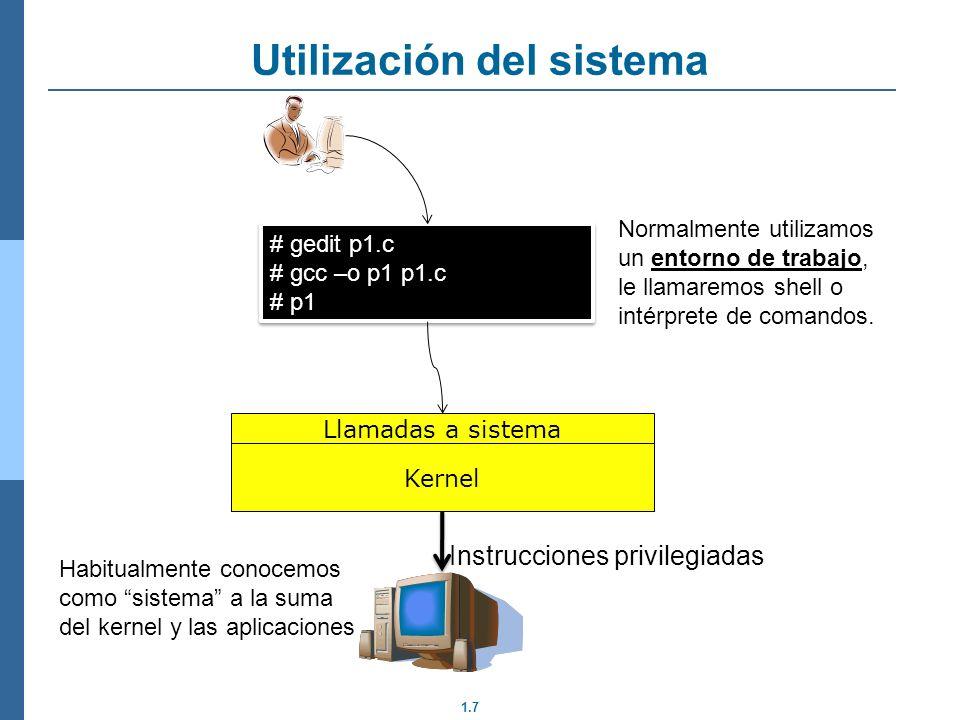 1.18 Generación ejecutables Programa usuario (C) Librería (código objeto) Programa compilado (código objeto) compilar enlazar Ejecutable Librerías: Rutinas/Funciones ya compiladas (es código objeto), que se enlazan con el programa y que el programador sólo necesita llamar Pueden ser a nivel de lenguaje (libc) o de sistema (libso) Se comprueba la sintaxis, tipos de datos, etc Se hace una primera generación de código Se resuelven todos los símbolos (variable/funciones)