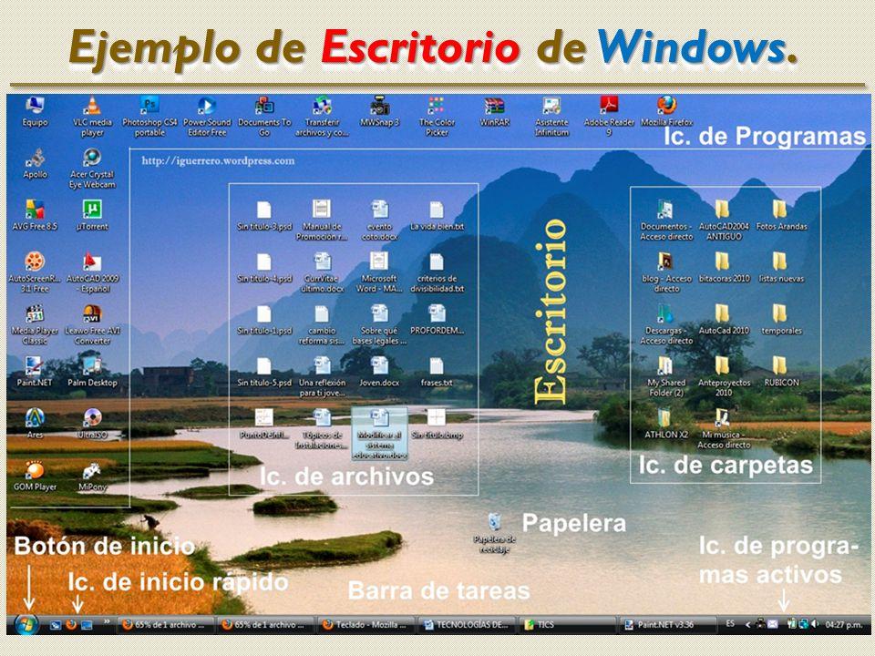 Identifica los elementos del Escritorio; iconos, barra de tareas, accesos directos, botón de Inicio, barra de inicio rápido, bandeja.