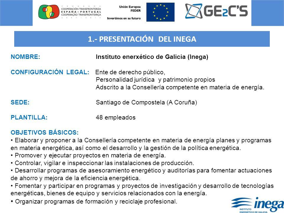 1.- PRESENTACIÓN DEL INEGA NOMBRE: Instituto enerxético de Galicia (Inega) CONFIGURACIÓN LEGAL: Ente de derecho público, Personalidad jurídica y patri