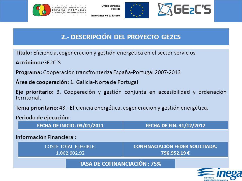 2.- DESCRIPCIÓN DEL PROYECTO GE2CS Título: Eficiencia, cogeneración y gestión energética en el sector servicios Acrónimo: GE2C´S Programa: Cooperación