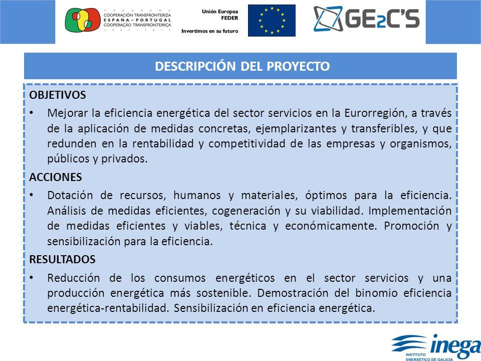 DESCRIPCIÓN DEL PROYECTO OBJETIVOS Mejorar la eficiencia energética del sector servicios en la Eurorregión, a través de la aplicación de medidas concr