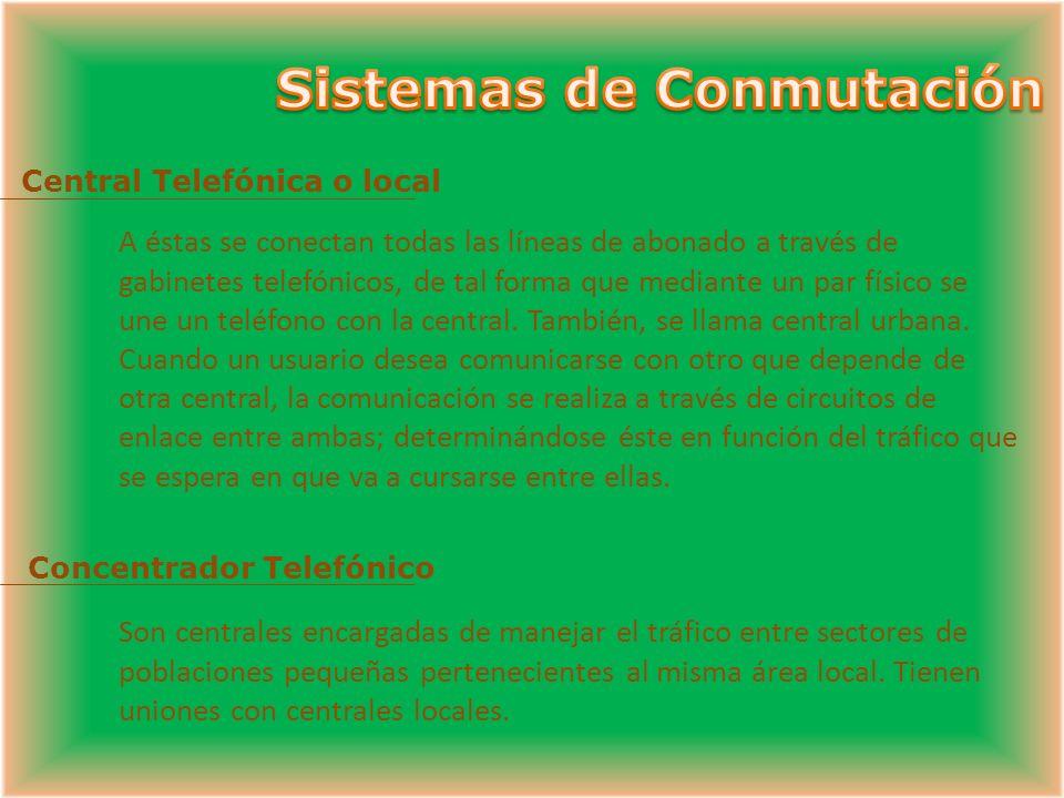 Central Tandem Son centrales de tránsito que sirven para cursar llamadas entre centrales telefónicas o primarias, actuando como concentradores.