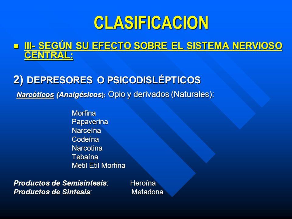 CLASIFICACION III- SEGÚN SU EFECTO SOBRE EL SISTEMA NERVIOSO CENTRAL: III- SEGÚN SU EFECTO SOBRE EL SISTEMA NERVIOSO CENTRAL: 2) DEPRESORES O PSICODISLÉPTICOS Barbitúricos:Anestésicos Pentotal, Seconal.