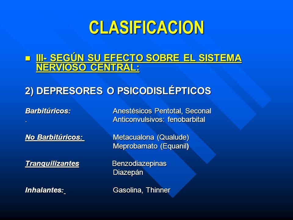 CLASIFICACION III- SEGÚN SU EFECTO SOBRE EL SISTEMA NERVIOSO CENTRAL: III- SEGÚN SU EFECTO SOBRE EL SISTEMA NERVIOSO CENTRAL: 3) ALUCINÓGENOS O PSICODÉLICOS : 3) ALUCINÓGENOS O PSICODÉLICOS : Cannabis y sus derivados: hachis, resina, aceite Cannabis y sus derivados: hachis, resina, aceite Mescalina Mescalina LSD LSD