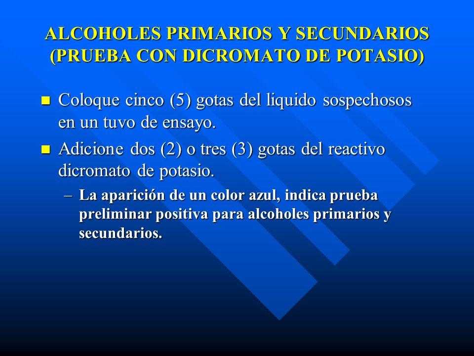 pH ACIDO (ACIDOS MINERALES) Coloque cuatro (4) gotas de agua en dos tubos de ensayo.
