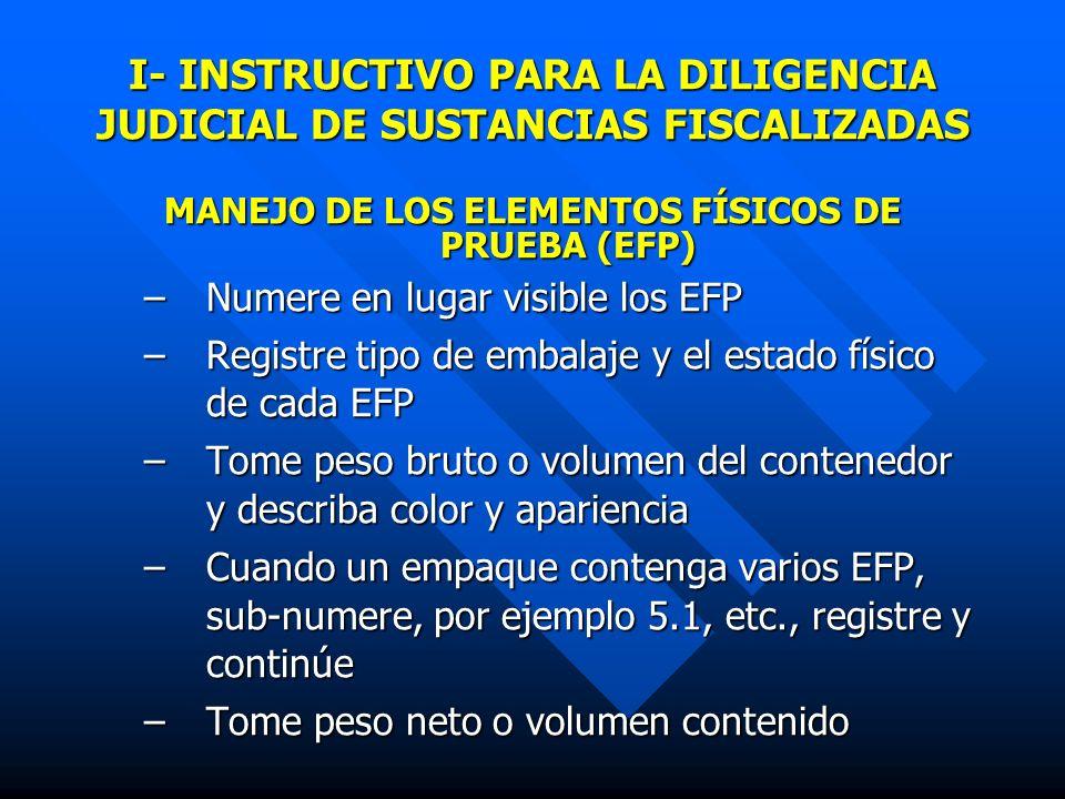 II- MUESTREO Identifique grupos con características similares: Identifique grupos con características similares: embalaje, estado físico, color y apariencia física Escoja los EFP a muestrear para cada uno de los grupos definidos así: Escoja los EFP a muestrear para cada uno de los grupos definidos así: Cuadro N° 1.