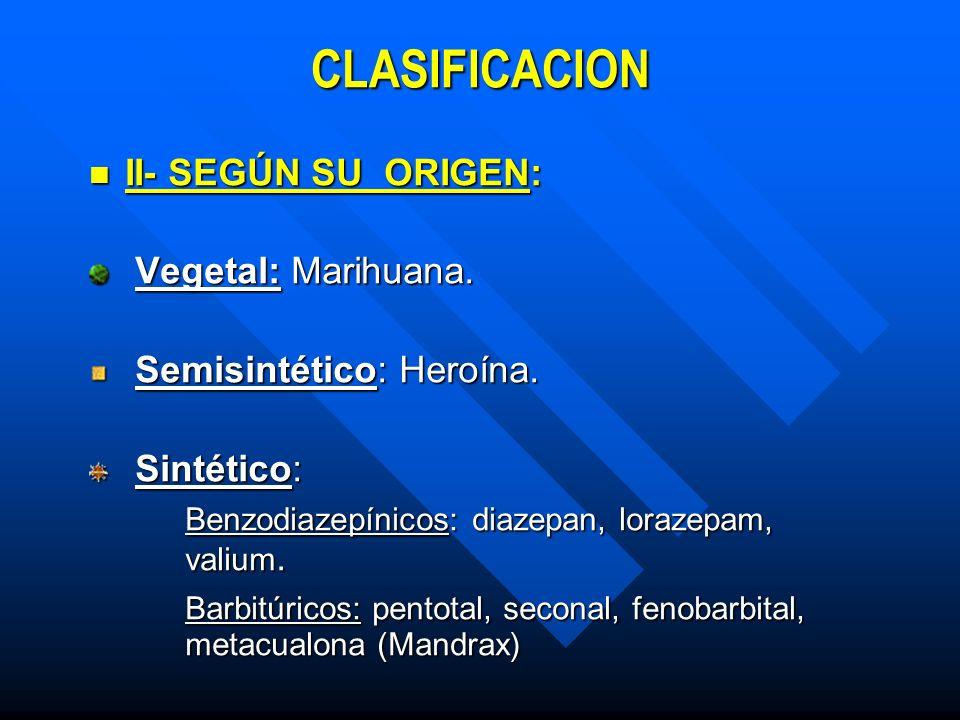 CLASIFICACION III- SEGÚN SU EFECTO SOBRE EL SISTEMA NERVIOSO CENTRAL : III- SEGÚN SU EFECTO SOBRE EL SISTEMA NERVIOSO CENTRAL : 1) ESTIMULANTES: Anfetaminas ( Metilendioximetanfetamina – Extasis - ) Anfetaminas ( Metilendioximetanfetamina – Extasis - ) Coca y Derivados : Pasta de coca, Bazuco, coca base (crack), cocaína, clorhidrato.