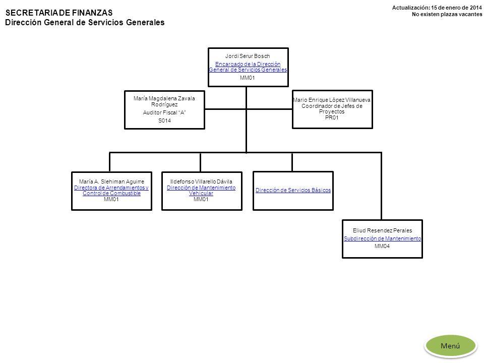 Actualización: 15 de enero de 2014 No existen plazas vacantes SECRETARIA DE FINANZAS Dirección General de Servicios Generales Jordi Serur Bosch Encarg