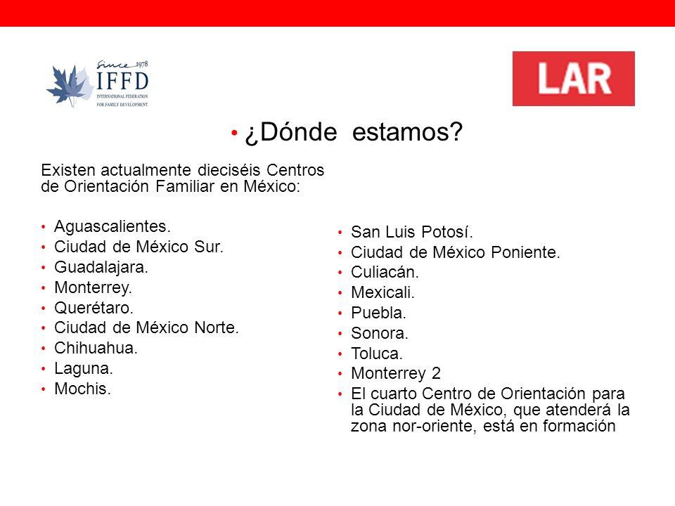 ¿Dónde Existen actualmente dieciséis Centros de Orientación Familiar en México: Aguascalientes.