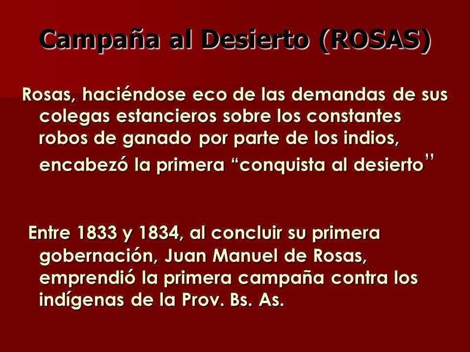 Campaña al Desierto (ROSAS) Rosas, haciéndose eco de las demandas de sus colegas estancieros sobre los constantes robos de ganado por parte de los ind